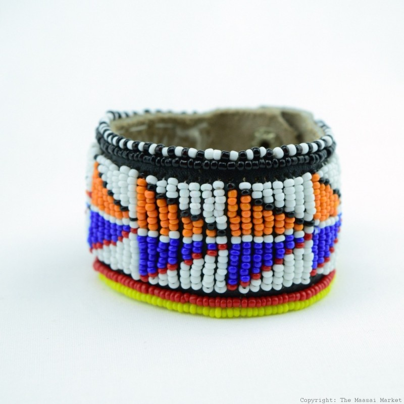 Maasai Bead Leather Bracelet Cuff 412-40