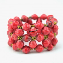 Recycled Red Paper Bead Elastic Bracelet