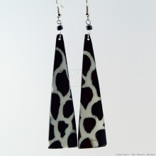 Long Batik Giraffe Print Bone Earrings 353-52