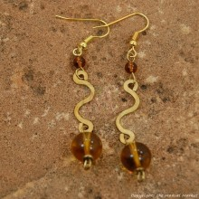 Brass Swirl Color Bead Earrings 695-3-81