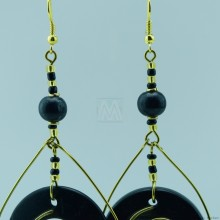Copper and Wood Bead Earring 132-26