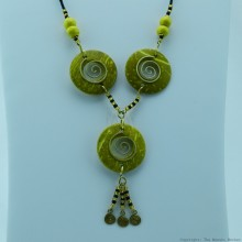 Copper Wire and Wood Bead Necklace Yellow 128-27