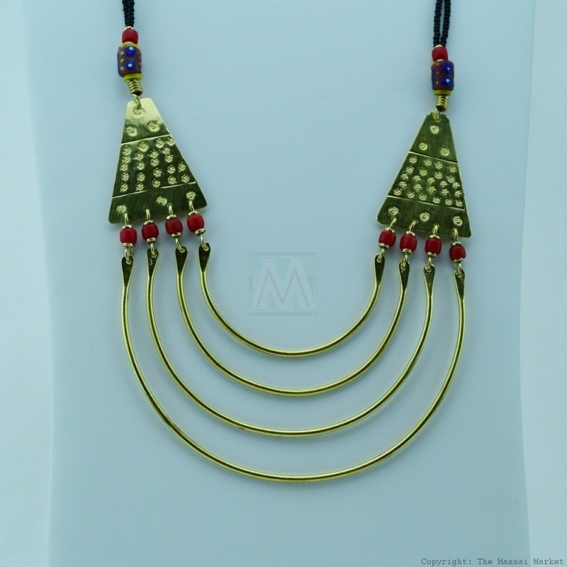 Maasai Trade Bead Brass Strand Necklace 119-90