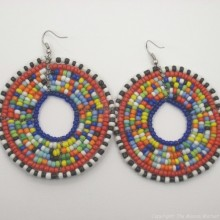 Multi Color Masai Bead Loop Earring 657