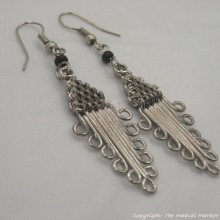 Silver Wire Masai Bead Spiral Earrings