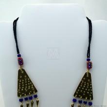 Maasai Trade Bead Brass Strand Necklace 115-19