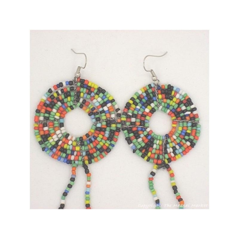 MultiColor Cowrie Shell Earrings 469-44