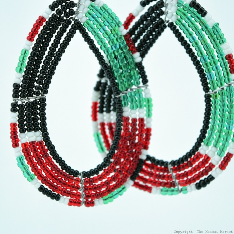 Maasai Tear Drop Kenya Flag Earrings 690-4-91