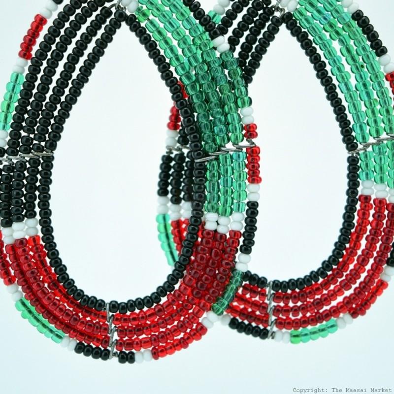 Maasai Tear Drop Kenya Flag Earrings 690-5-91