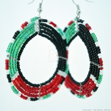 Round Maasai  Kenya Flag Earrings 690-6-107