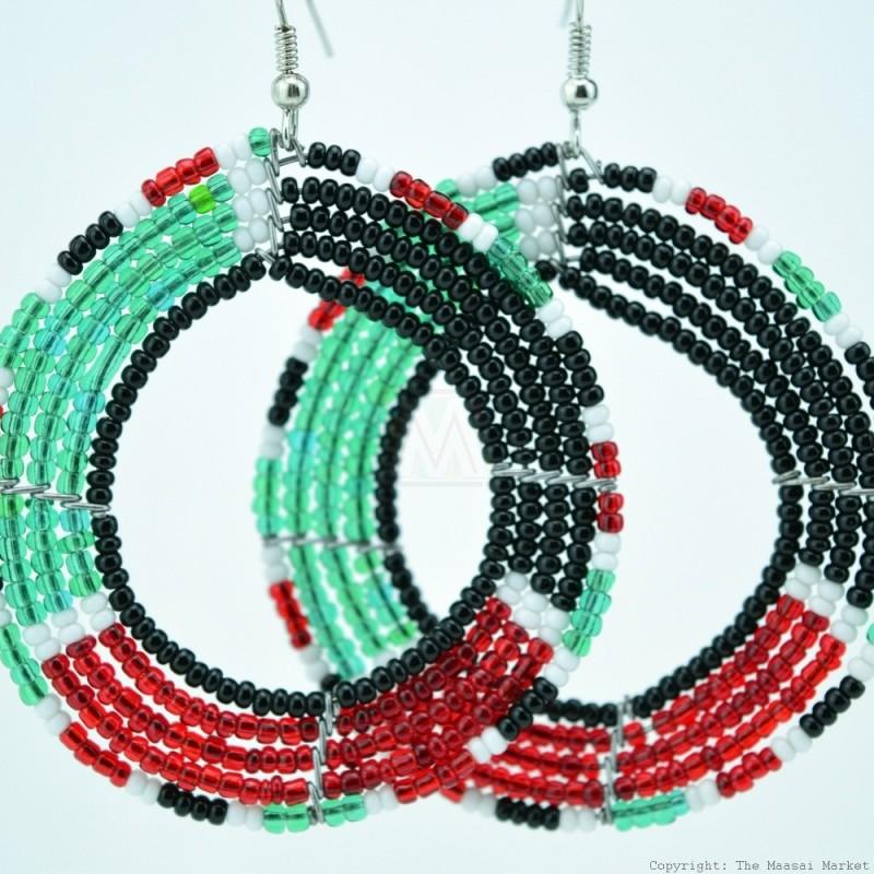 Round Maasai  Kenya Flag Earrings 690-7-107
