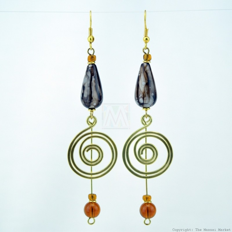 Brass Wire Coil Tear Drop Bead Earrings 229-94