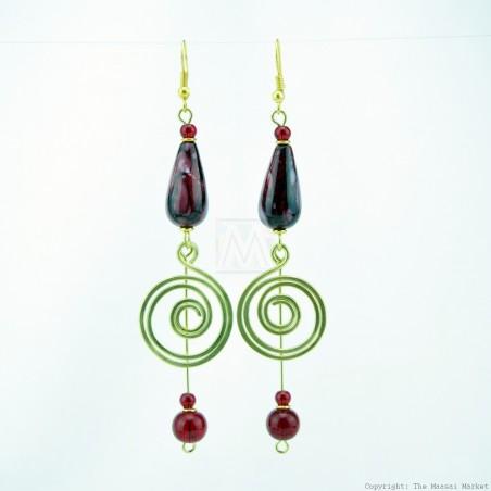 Brass Wire Coil Tear Drop Bead Earrings 49-29