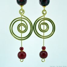 Brass Wire Coil Tear Drop Bead Earrings 49-29