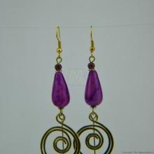 Brass Wire Coil Tear Drop Bead Earrings 582-29