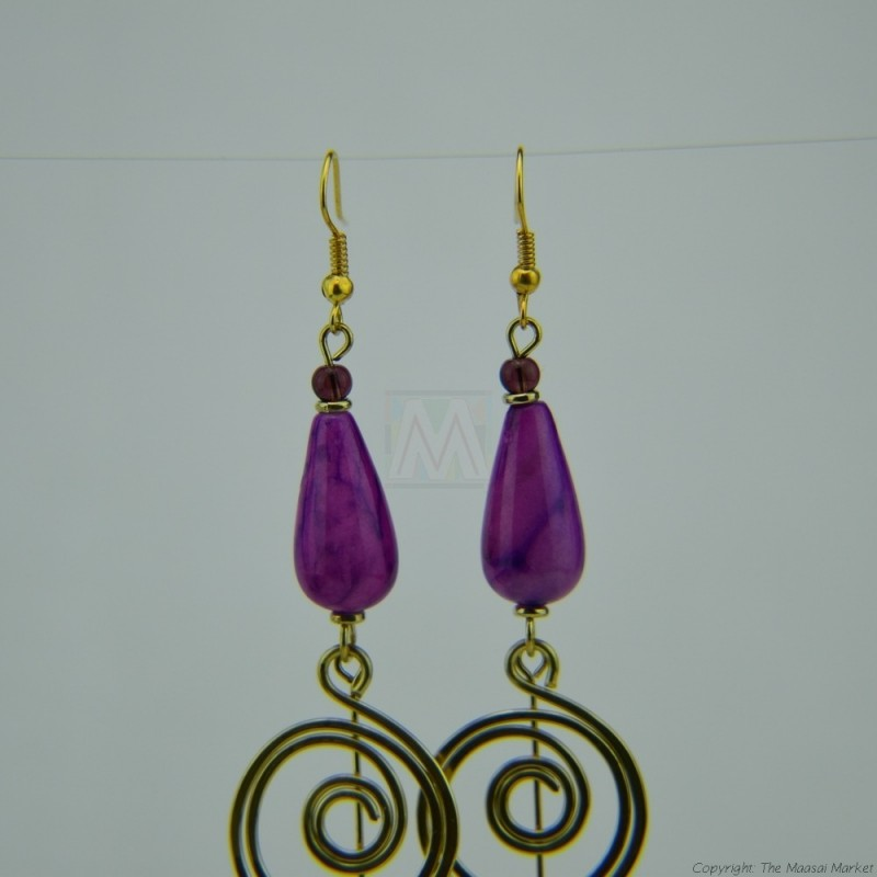 Brass Wire Coil Tear Drop Bead Earrings 582-29