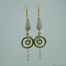 Brass Wire Coil Tear Drop Bead Earrings 581-29