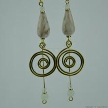 Brass Wire Coil Tear Drop Bead Earrings 581-29