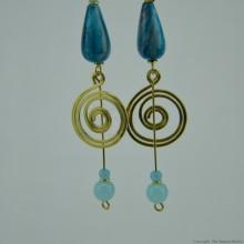 Brass Wire Coil Tear Drop Bead Earrings 579-29