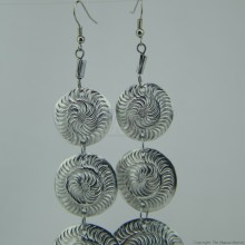 Recycled Aluminium Tiered Disk Earrings 591