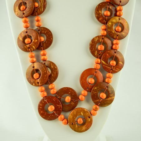 Orange Coconut Shell Disk Bead Boho Necklace