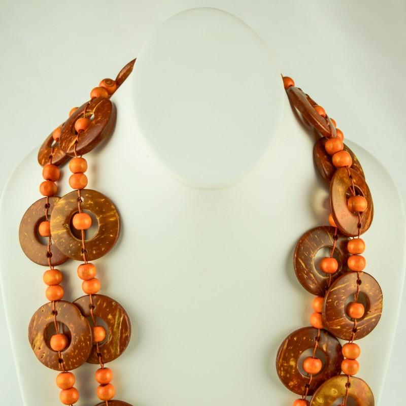 Orange Wood Disk Bead Boho Necklace