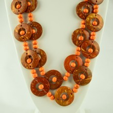 Orange Wood Disk Bead Boho Necklace