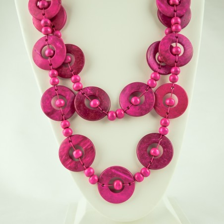 Pink Coconut Shell Disk Bead Boho Necklace