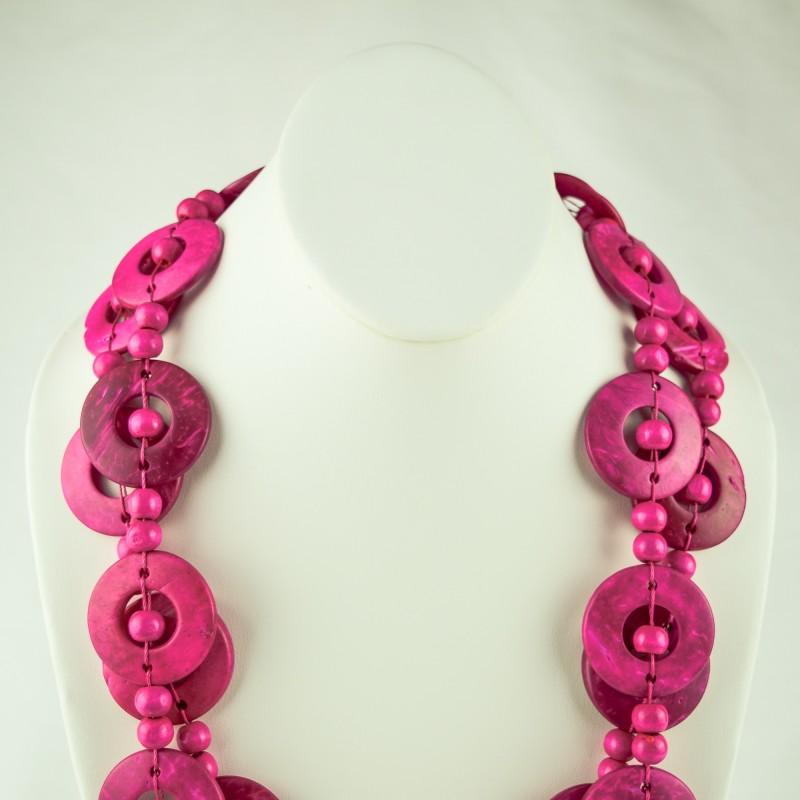 Pink Wood Disk Bead Boho Necklace
