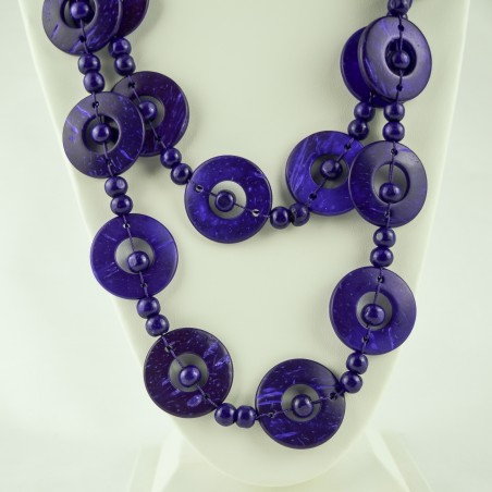 Purple Wood Disk Bead Boho Necklace