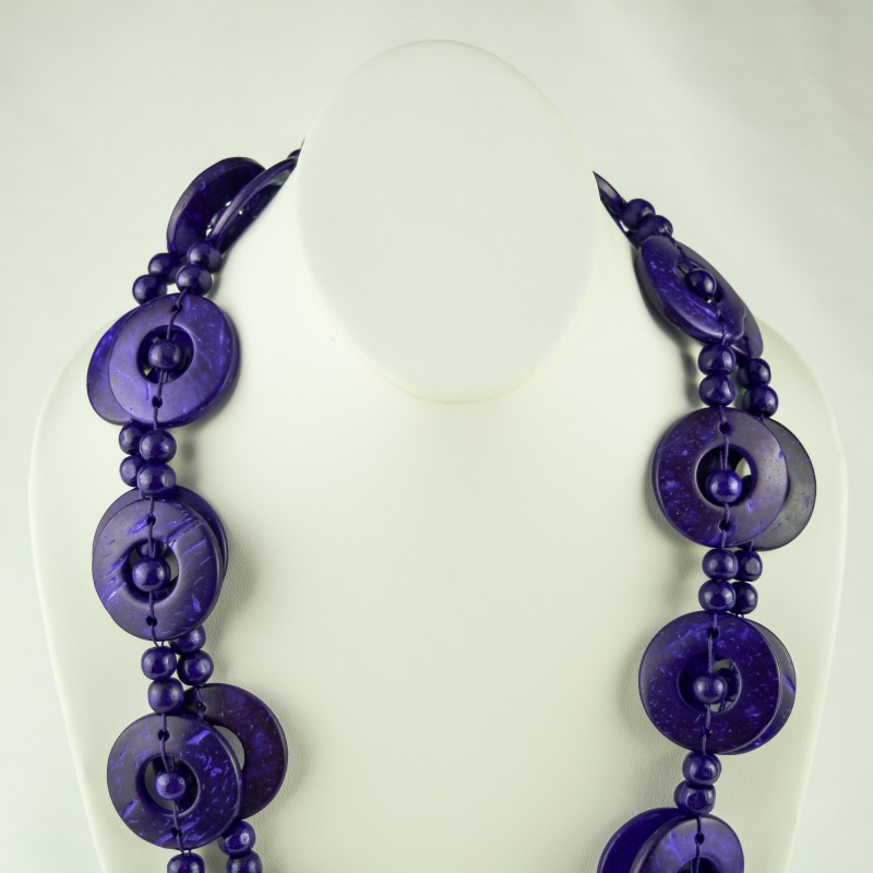 Purple Wood Disk Bead Boho Necklace