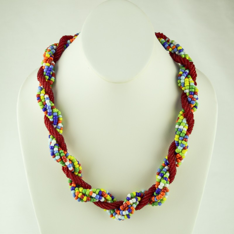 Multi Color/ Red Twisted Strands Maasai Bead Necklace