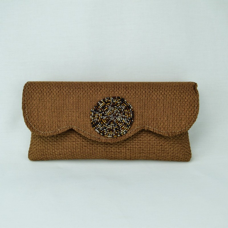 Large Scallop Jute Clutch With Maasai Bead Work