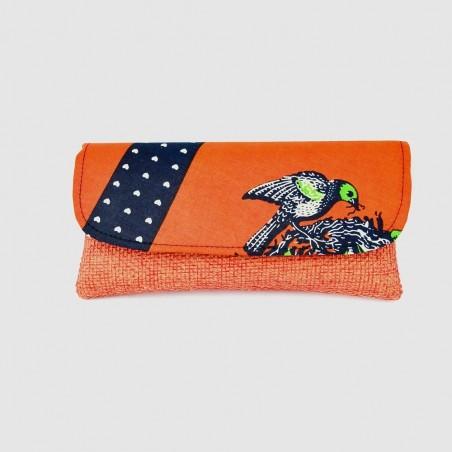 Large Orange Jute Kitenge Fabric Clutch