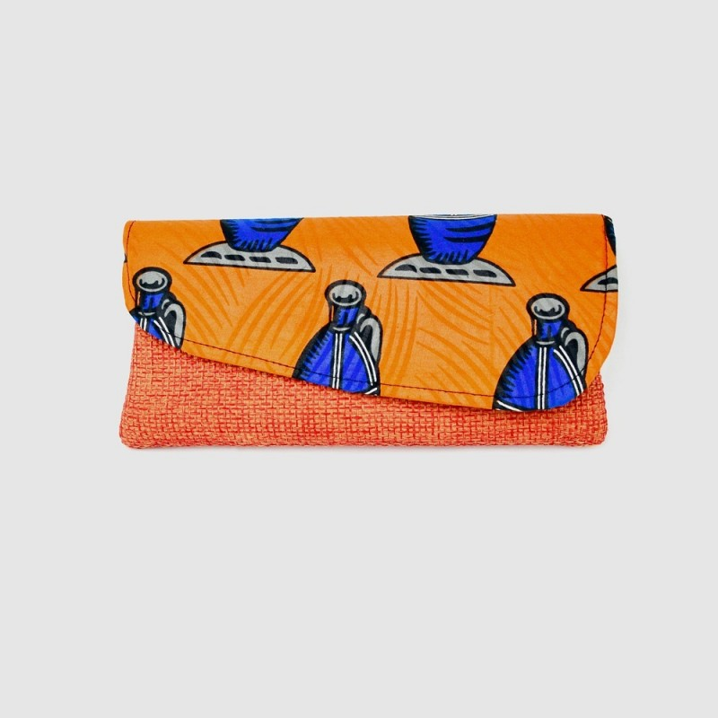 Large Orange Jute Kitenge Fabric Clutch
