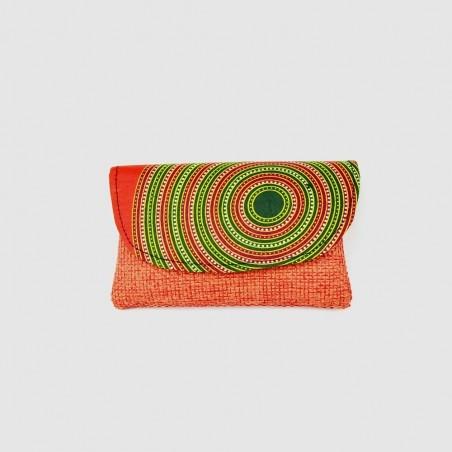 Small Orange Jute Kitenge Fabric Clutch