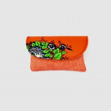 Small Orange Jute Kitenge Fabric Clutch