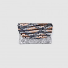Small Blue/Gray Heather Jute Kitenge Fabric Clutch