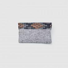Small Blue/Gray Heather Jute Kitenge Fabric Clutch