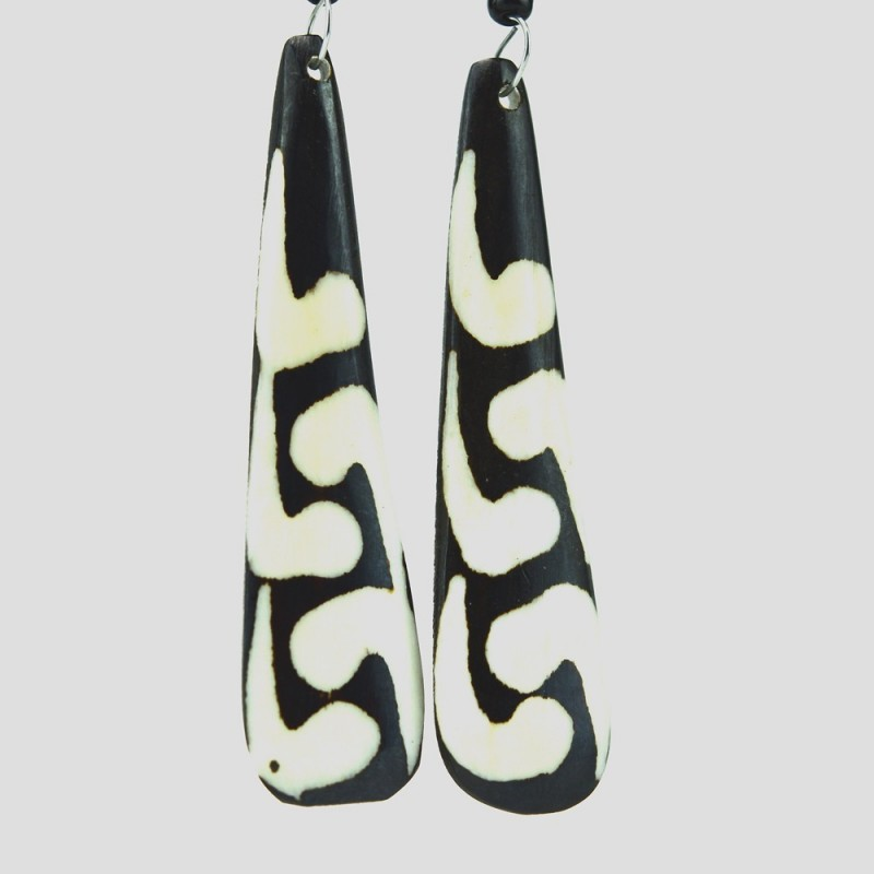 Mud Cloth Print Tear Drop Earrings 327-18