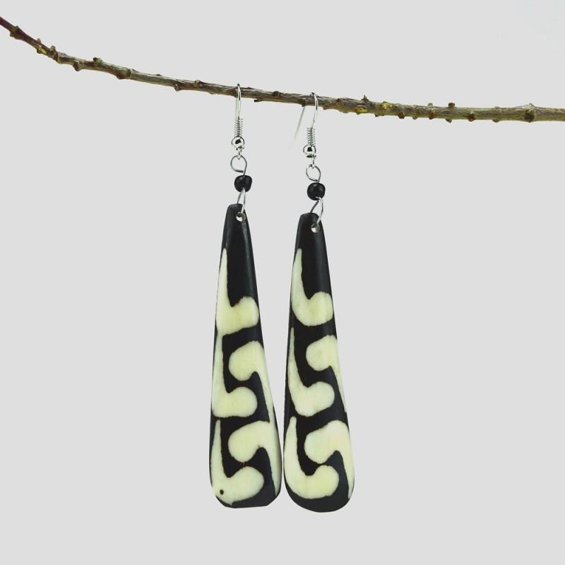 Mud Cloth Print Tear Drop Earrings 327-18