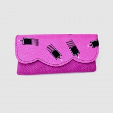 Large Fuschia Jute Kitenge Fabric Clutch