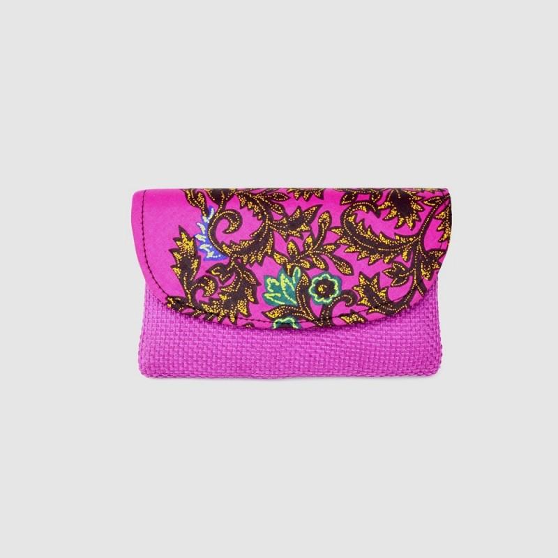 Small Fuschia Jute Kitenge Fabric Clutch