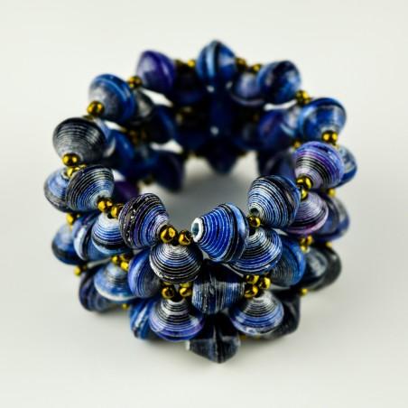 Recycled Blue Paper Bead Elastic Bracelet
