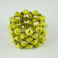 Recycled Yellow Paper Bead Elastic Bracelet