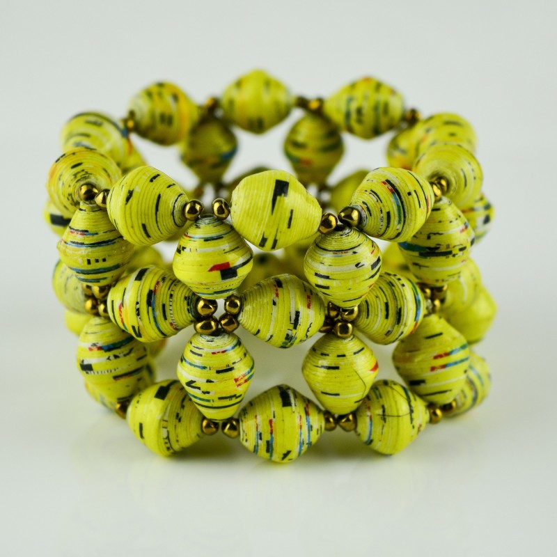 Recycled Yellow Paper Bead Elastic Bracelet