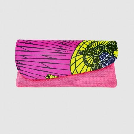Large Pink Jute Kitenge Fabric Clutch