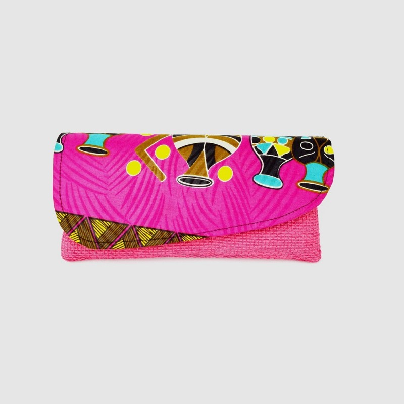 Large Pink Jute Kitenge Fabric Clutch