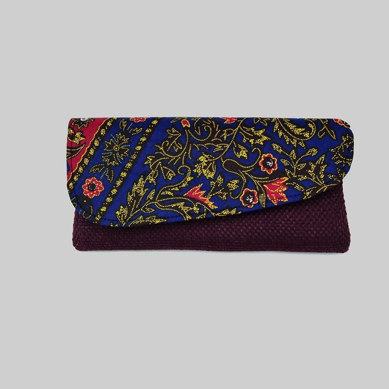 Large Burgundy Jute Kitenge Fabric Clutch