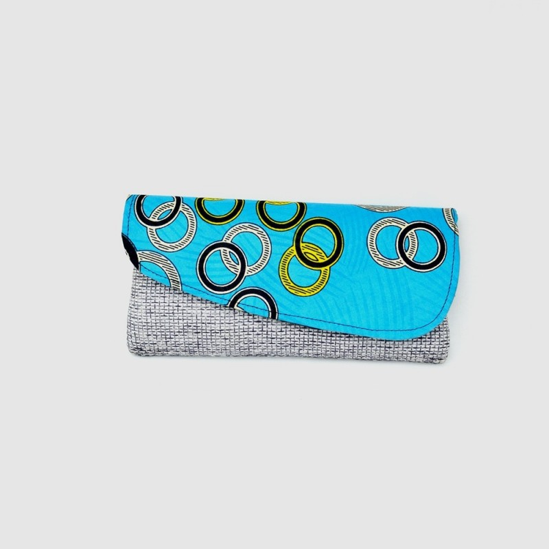 Large Blue/Gray Heather Jute Kitenge Fabric Clutch